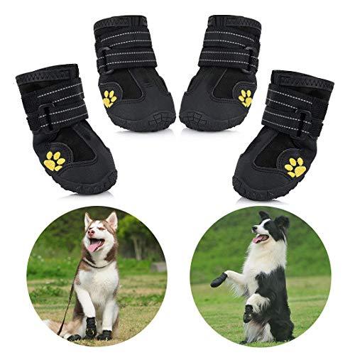 Zapatos para Perros, 4 Pcs Impermeable Zapatos Perro para Mediano...