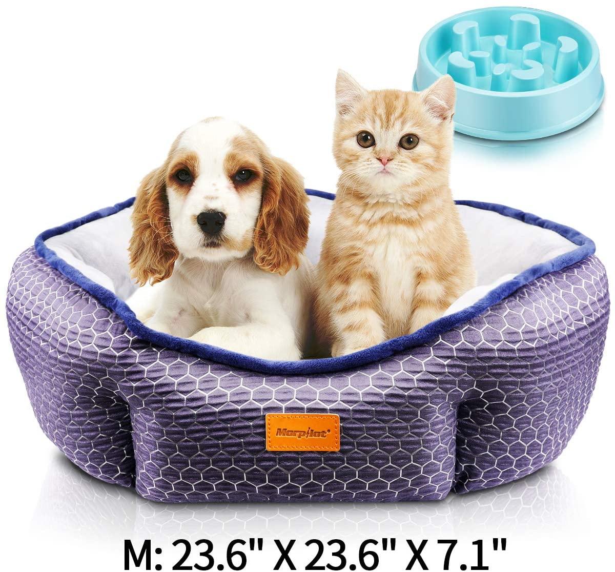 Cama Gato, Cama Perro Pequeño, Cama para Mascotas con Suave Cojín Desmontable